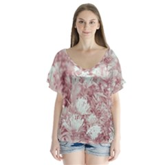 Pink Colored Flowers Flutter Sleeve Top
