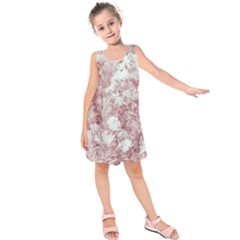 Pink Colored Flowers Kids  Sleeveless Dress