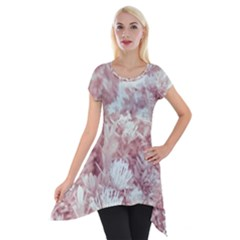 Pink Colored Flowers Short Sleeve Side Drop Tunic