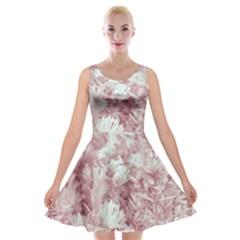 Pink Colored Flowers Velvet Skater Dress
