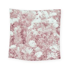 Pink Colored Flowers Square Tapestry (small)