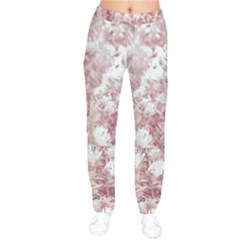 Pink Colored Flowers Drawstring Pants