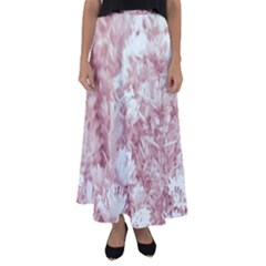 Pink Colored Flowers Flared Maxi Skirt