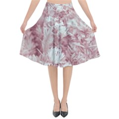 Pink Colored Flowers Flared Midi Skirt