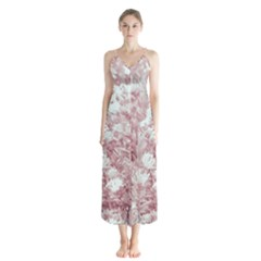 Pink Colored Flowers Button Up Chiffon Maxi Dress