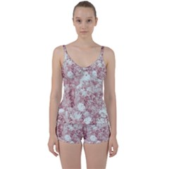 Pink Colored Flowers Tie Front Two Piece Tankini