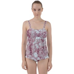 Pink Colored Flowers Twist Front Tankini Set