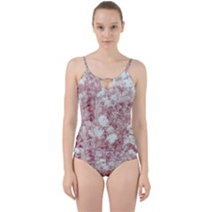 Pink Colored Flowers Cut Out Top Tankini Set