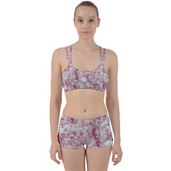 Pink Colored Flowers Women s Sports Set