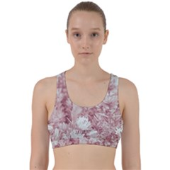 Pink Colored Flowers Back Weave Sports Bra