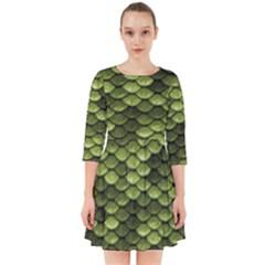 Green Mermaid Scales   Smock Dress