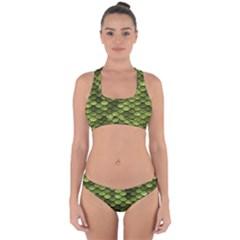 Green Mermaid Scales   Cross Back Hipster Bikini Set