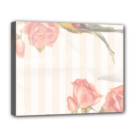 Vintage Roses Floral Illustration Bird Deluxe Canvas 20  X 16
