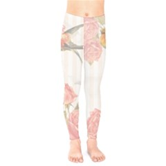Vintage Roses Floral Illustration Bird Kids  Legging