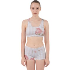 Vintage Roses Floral Illustration Bird Work It Out Sports Bra Set