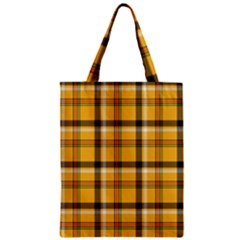 Yellow Fabric Plaided Texture Pattern Zipper Classic Tote Bag