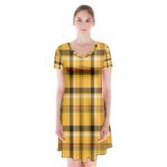 Yellow Fabric Plaided Texture Pattern Short Sleeve V Neck Flare Dress
