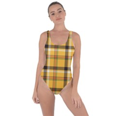 Yellow Fabric Plaided Texture Pattern Bring Sexy Back Swimsuit