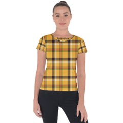 Yellow Fabric Plaided Texture Pattern Short Sleeve Sports Top