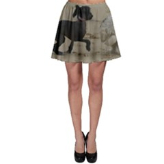 2 Chinese Crested Playing Skater Skirt