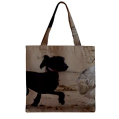 2 Chinese Crested Playing Zipper Grocery Tote Bag