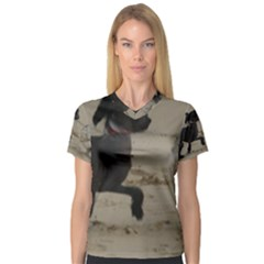 2 Chinese Crested Playing V Neck Sport Mesh Tee