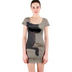 2 Chinese Crested Playing Short Sleeve Bodycon Dress