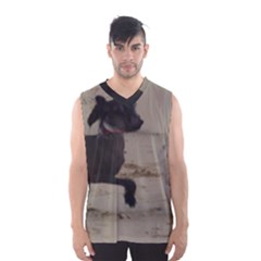 2 Chinese Crested Playing Men s Basketball Tank Top