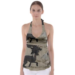 2 Chinese Crested Playing Babydoll Tankini Top