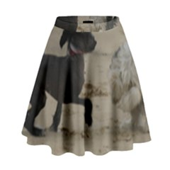 2 Chinese Crested Playing High Waist Skirt