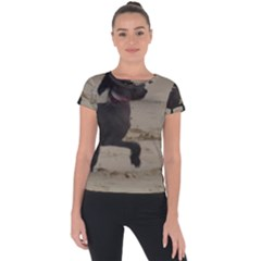 2 Chinese Crested Playing Short Sleeve Sports Top