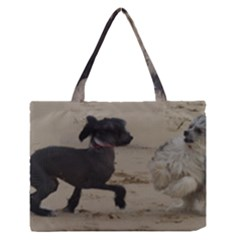 2 Chinese Crested Playing Zipper Medium Tote Bag