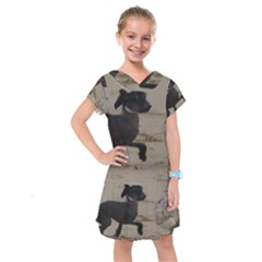 2 Chinese Crested Playing Kids  Drop Waist Dress