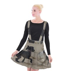 2 Chinese Crested Playing Suspender Skater Skirt