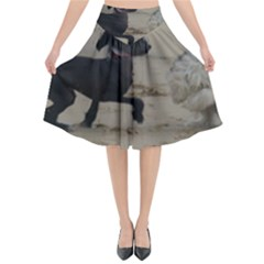 2 Chinese Crested Playing Flared Midi Skirt