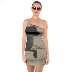 2 Chinese Crested Playing One Soulder Bodycon Dress