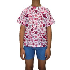 Red Floral Seamless Pattern Kids  Short Sleeve Swimwear
