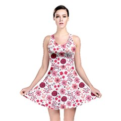 Red Floral Seamless Pattern Reversible Skater Dress