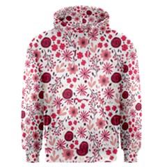 Red Floral Seamless Pattern Men s Pullover Hoodie