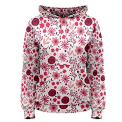 Red Floral Seamless Pattern Women s Pullover Hoodie