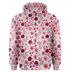 Red Floral Seamless Pattern Men s Zipper Hoodie