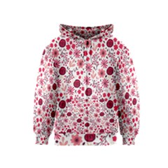 Red Floral Seamless Pattern Kids  Zipper Hoodie