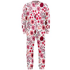 Red Floral Seamless Pattern Onepiece Jumpsuit (men)