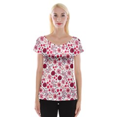 Red Floral Seamless Pattern Cap Sleeve Tops