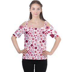Red Floral Seamless Pattern Cutout Shoulder Tee