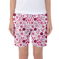 Red Floral Seamless Pattern Women s Basketball Shorts