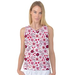 Red Floral Seamless Pattern Women s Basketball Tank Top