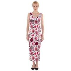 Red Floral Seamless Pattern Fitted Maxi Dress