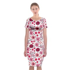 Red Floral Seamless Pattern Classic Short Sleeve Midi Dress