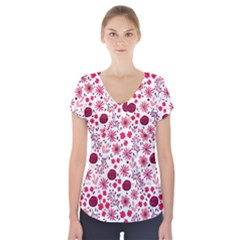 Red Floral Seamless Pattern Short Sleeve Front Detail Top